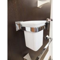 Porta sapzzolini da parete cromo ceramica bianco.Prodotto nuovo da esposizione.