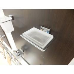 Porta sapone rettangolare a parete cromo vetro satinato.Prodotto nuovo da esposizione.