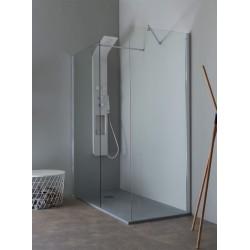 Parete doccia da 1600 (1580-1600) Finitura nero opacoVetro temperato da 8 mm trasparenteReversibileTrattamento anticalcareAltez