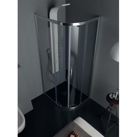 ECO Box doccia semicircolare porte scorrevoli 90x90 vetro temperato 6mm struttura cromo Trasparente