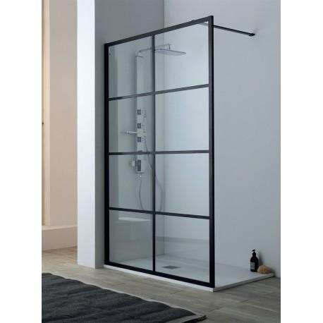 Parete doccia da 1000 (975-995) Finitura nero opacoVetro temperato da 8 mm trasparenteReversibileTrattamento anticalcareAltezza