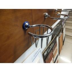 Porta Sapone rotondo cromo / blu a parete.Prodotto nuovo da esposizione.