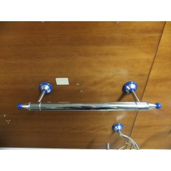 Portasciugamani a parete cromo / blu da 30cm.Prodotto nuovo da esposizione.